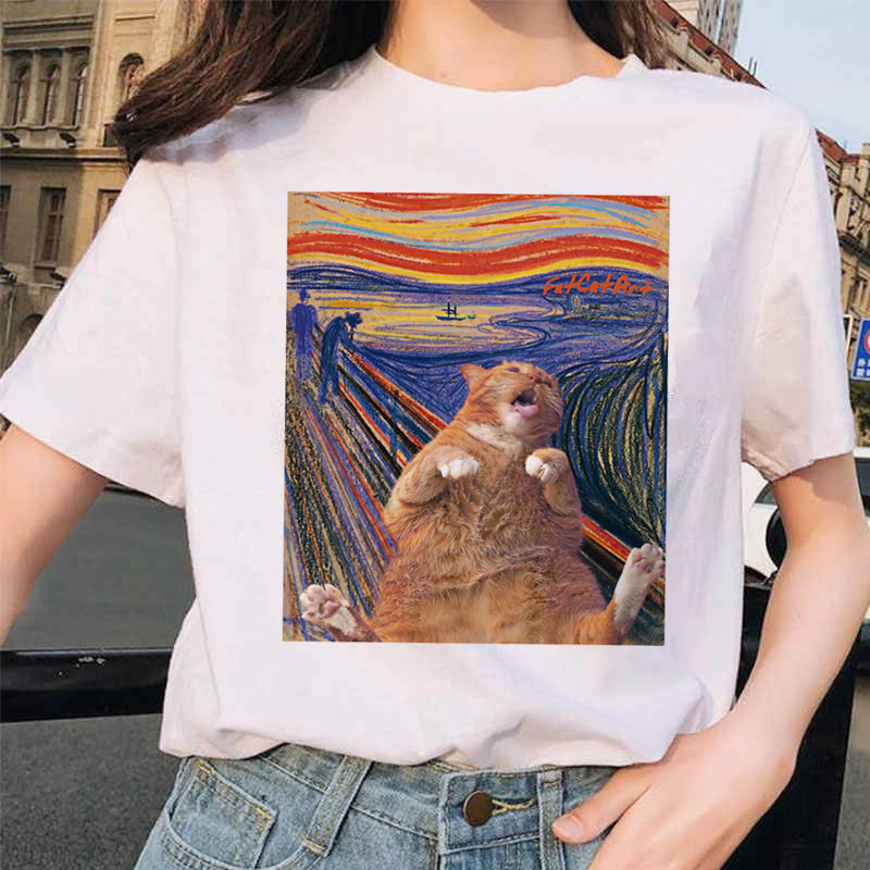 Van Gogh Cat Women T Shirt Art Oil Painting Lattice Print New Cute Female T-shirt Casual Harajuku Tshirt Funny Ulzzang Grunge