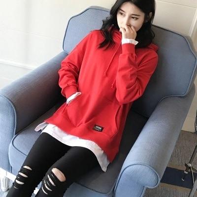 2017 fashion two false black Hooded Hoodie female Korean chic loose long section of Harajuku sweatshirt