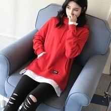 2017 fashion two false black Hooded Hoodie female Korean chic loose long section of Harajuku sweatshirt pullovers jacket
