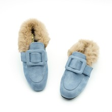 2017 New Rabbit Fur Buckle Women Loafers Slipony Flats Embroidery Slippers Platform Designer Black Mules Shoes Chiara Ferragni