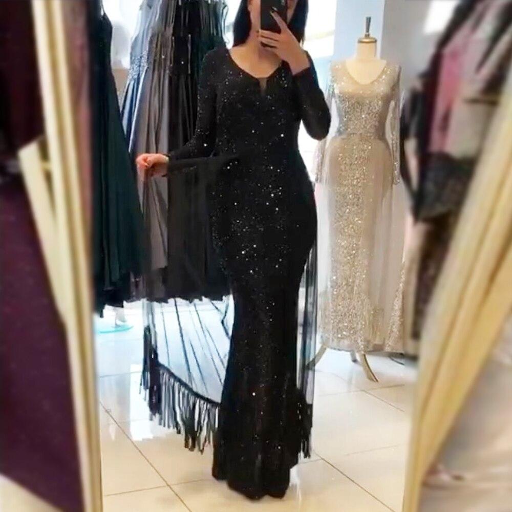 Noir col en V à manches longues Maxi robe rayée pailletée Patchwork maille gland robe de soirée longue robe extensible