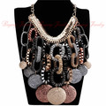 2014 Massive Sale Gypsy Bohemian Necklaces & Pendants Women Exaggerate Accessories Craving Big Coin Statement Necklaces Chain