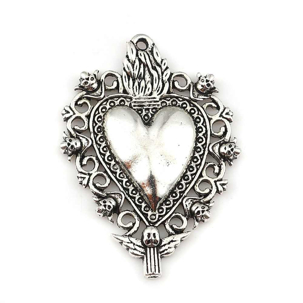 5 PCs Zinc Based Alloy Pendants Heart Silver Color For Earrings Necklace Making Angel Kinds Style Jewelry DIY Charms Findings