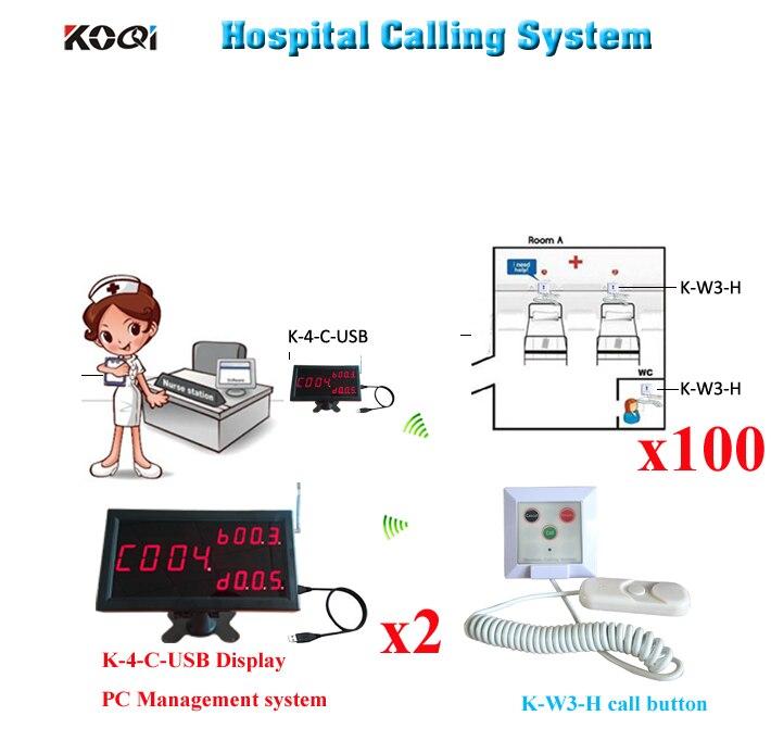D'appel Infirmière sans fil Cloche Médical de Système D'appel de Secours 2 pièces K-4-C-USB 100 pièces Bouton Pour L'hôpital