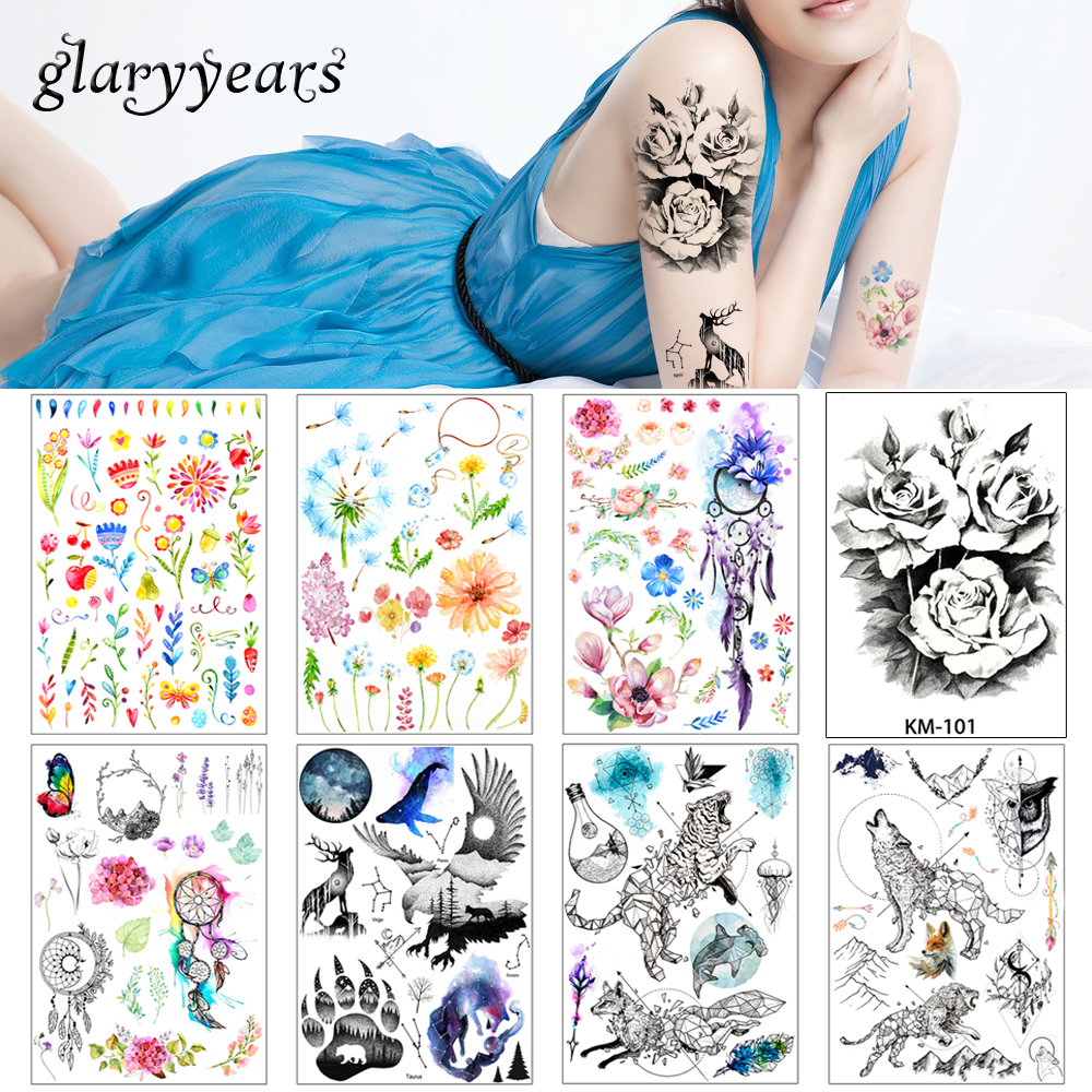 1 Piece Temporary Tattoo Sticker Water Transfer Wing: 2018 1 Sheet Women Rose Flower Decal Tattoo KM 101 Water