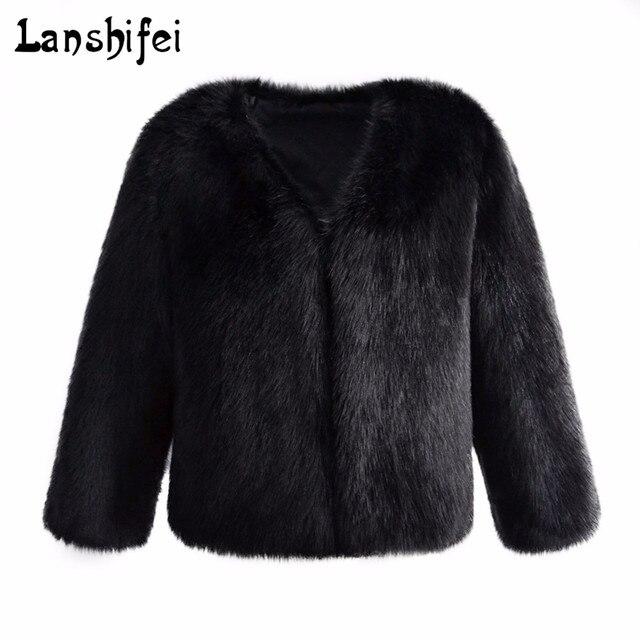 75d2a1a3ea1b4e Nieuwe Vrouwen Winter Zwarte Pluizige Bontjas Pluizige Dikke Warme Lange  mouw Faux Fur Bovenkleding Dame Korte