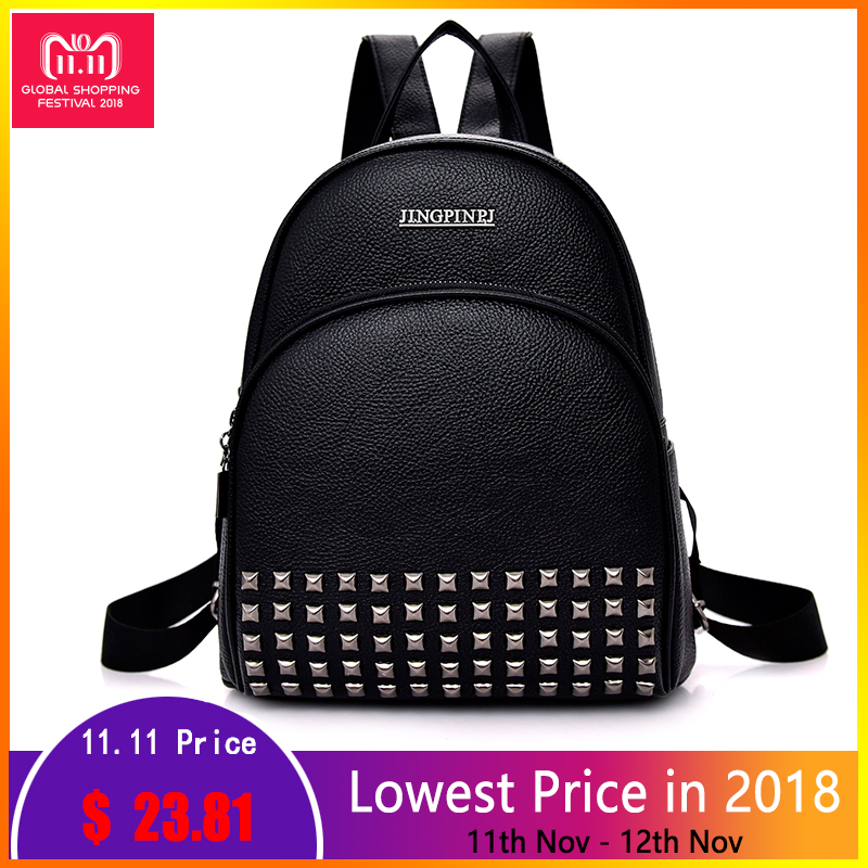 rivet women high quality leather backpack school shoulder bags for teenage girls vintage feminine backpacks Fashion Casual bags цена