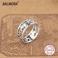 100% real pure 925 sterling silver jóias letras mantra exquisite oco anéis de partido presentes de natal para mulheres homens SY20524
