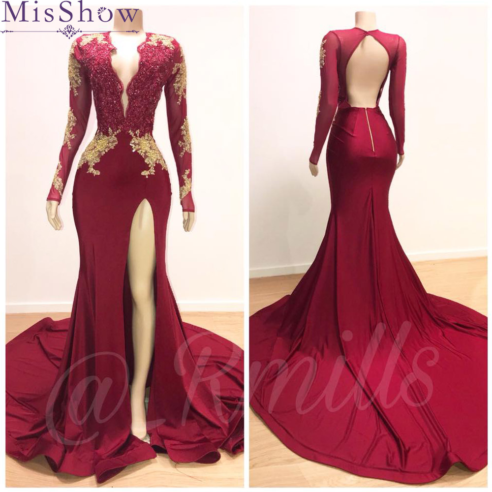 Custom-made Sexy 2019 Burgundy Mermaid   Evening     Dresses   Long Satin Women Backless Formal Party Gown Prom   Dress   Robe de Soiree