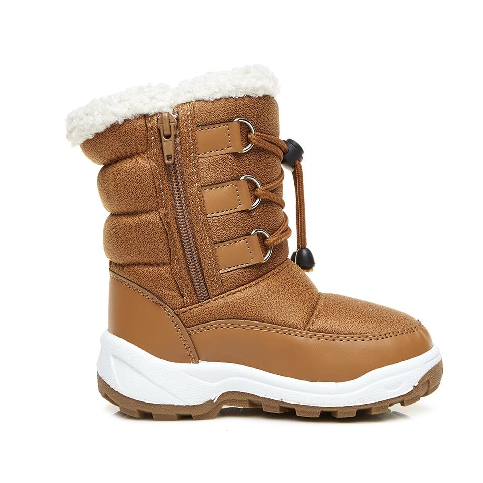Little Girls Boys Infant Boot Snow Fur Soft Warm Boots Winter Solid Round Infantil Mid-calf Kids Booties Waterproof KT903-34