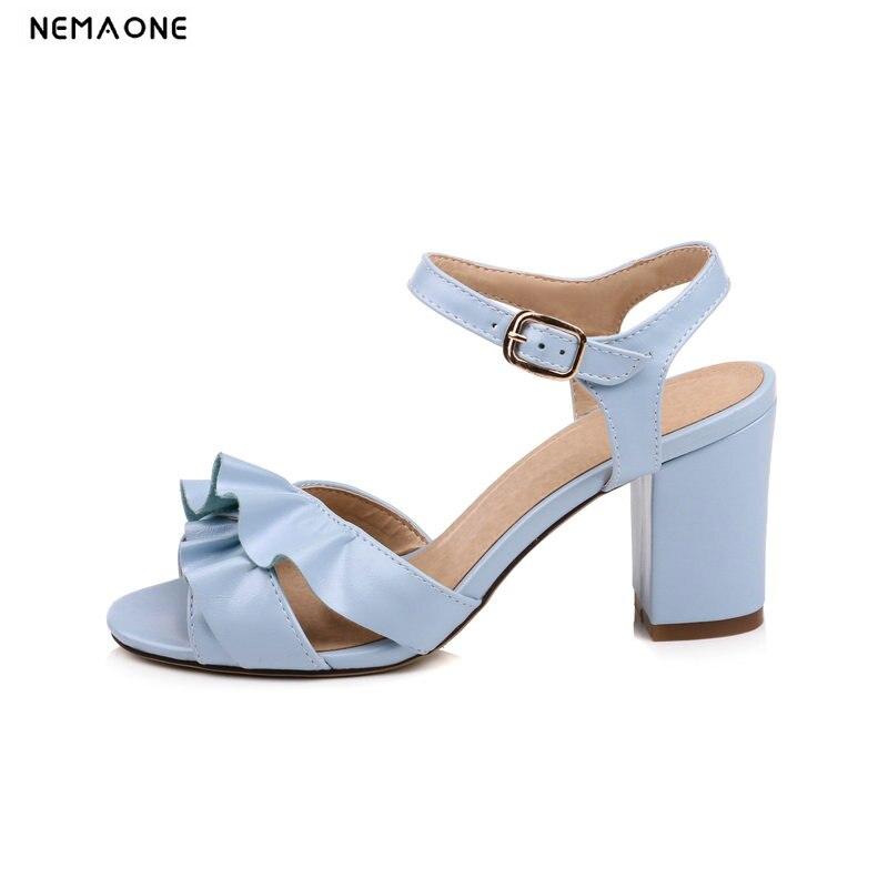 100% Wahr Nemaone Süße Rüschen Hohe Ferse Frauen Sandalen Sommer Schuhe Frau Party Kleid Schuhe Frauen Pumpen Größe 41 42 43