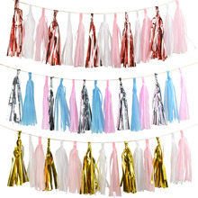 15pcs 14inch 35cm Rose Gold Tassel Tissue Paper Tassels Party Wall Hanging Decoration Wedding Garland Birthday Bunting