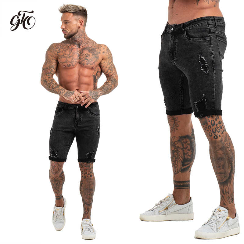 7a7a9ff319 ... Mens Shorts Fitness Denim Shorts Black High Waist Ripped Summer Summer  Jeans Shorts For Men Plus ...