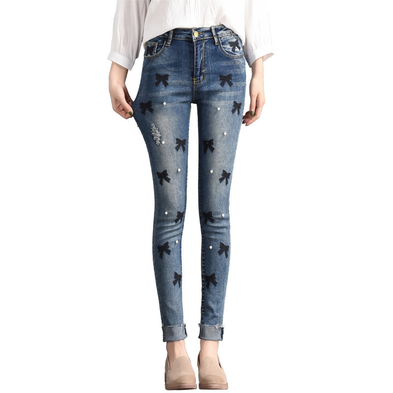 Vintage Pearl Blue High Waist Jeans Female Casual Slim Was Thin  Elasticity  Pants Winter 2018 Embroidery Denim Pants Women