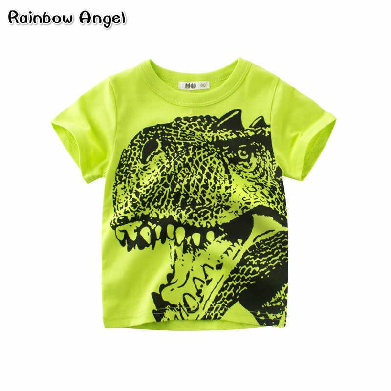 Брендовая футболка для мальчиков лето мультфильм динозавра футболка Детская  Одежда малышей 100% хлопковые топы Футболка c94f9640f2f95