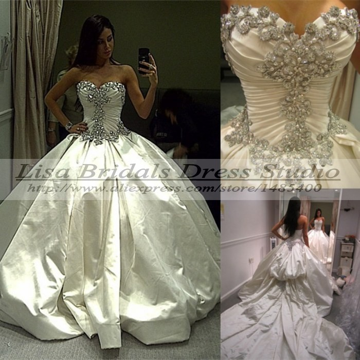 Vestido de noiva princesa 2015 luxo princess ball gown for Bling princess wedding dresses