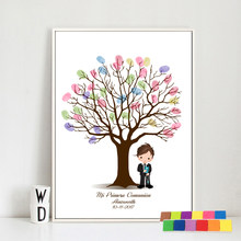 DIY First Communion Decoration Fingerprint Signature Guestbook Painting Custom Name Baby Shower Baptism Birthday Party Gifts(Hong Kong,China)