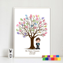 First Communion Boy Fingerprint tree canvas Painting Guestbook Baby Shower Baptism Birthday baby shower souvenir canvas paint(Hong Kong,China)