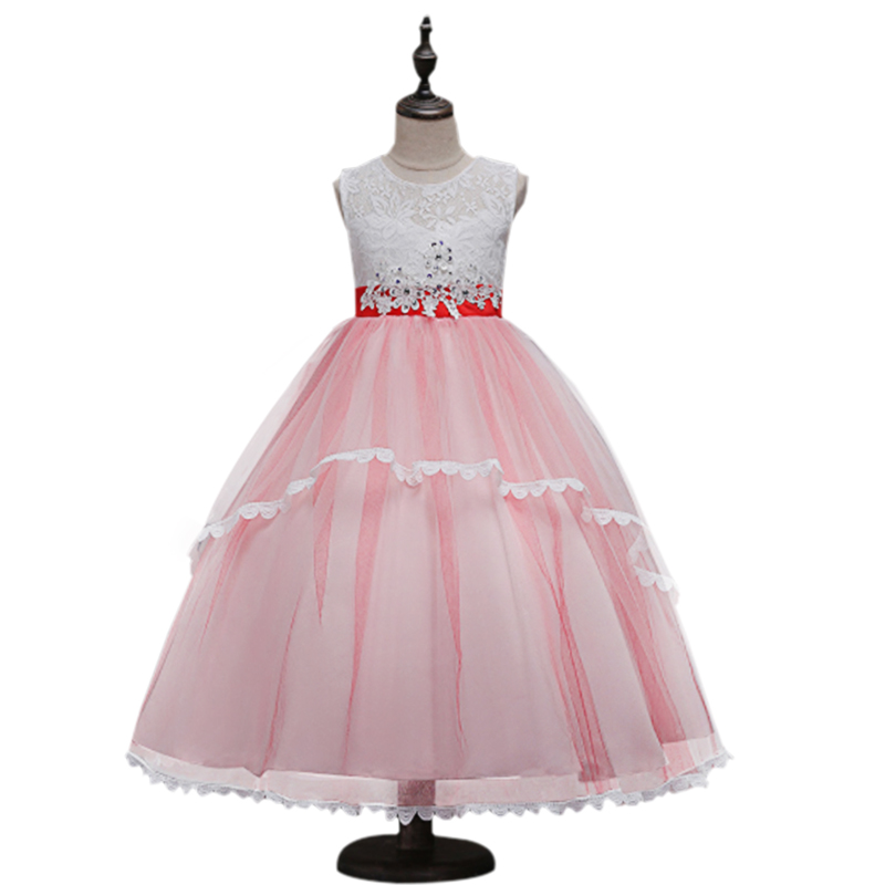 2017 new Flower Girl Dress Long Tulle Wedding Party Dress 3-5-6-8-10 years Princess Dresses Clothes Girls Birthday Party Dress flower girl dress party wedding toddler summer girls dresses 2017 new kids clothes clothing new fashion 3 4 5 6 7 8 9 10 years
