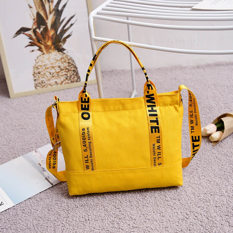 Bags For Women 2020 Fashion Brand Large Pocket Letter Print Handbag New Canvas Tote Shoulder Bag Harajuku Large Capacity