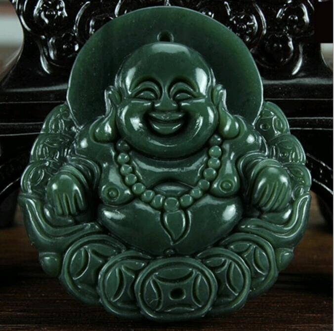 Natural Carved Smiling Buddha Copper HETIAN Jade Pendant China QINGYU Green Necklace Pendants
