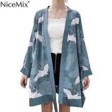 NiceMix Summer 2019 Japanese Style Harajuku Kimono Women Plus Size Blouse Cardigan Print Crane Vintage Shirt Bathrobe Coat