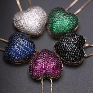 Image 5 - Collares con colgante de circonia en forma de corazón para mujer, Micro pendientes de circonia Multicolor, juegos de joyas para mujer, Charm, joyería para fiesta