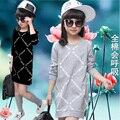 Crianças xadrez moda bebê meninas roupas de primavera e outono casual criança vestido