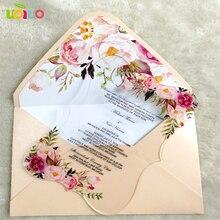 Индивидуальные печати Флора свадебные приглашения карты акриловый пригласительный билет с конвертом