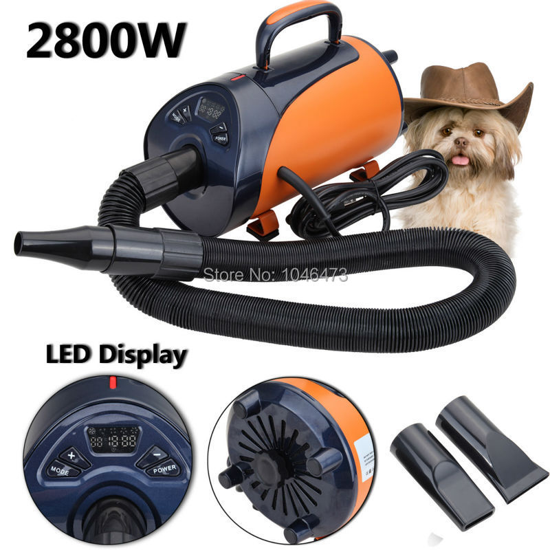 Secador de pelo portátil para perros de 2800 W, secador de pelo para animales, soplador de calor con 3 boquillas