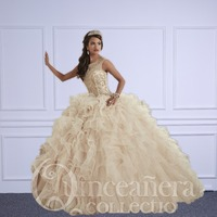Linyixun Champagne Quinceanera Dresses 2018 Ball Gowns Scoop Beaded Crystal Embroidery Sweet 16 Dress Vestidos De