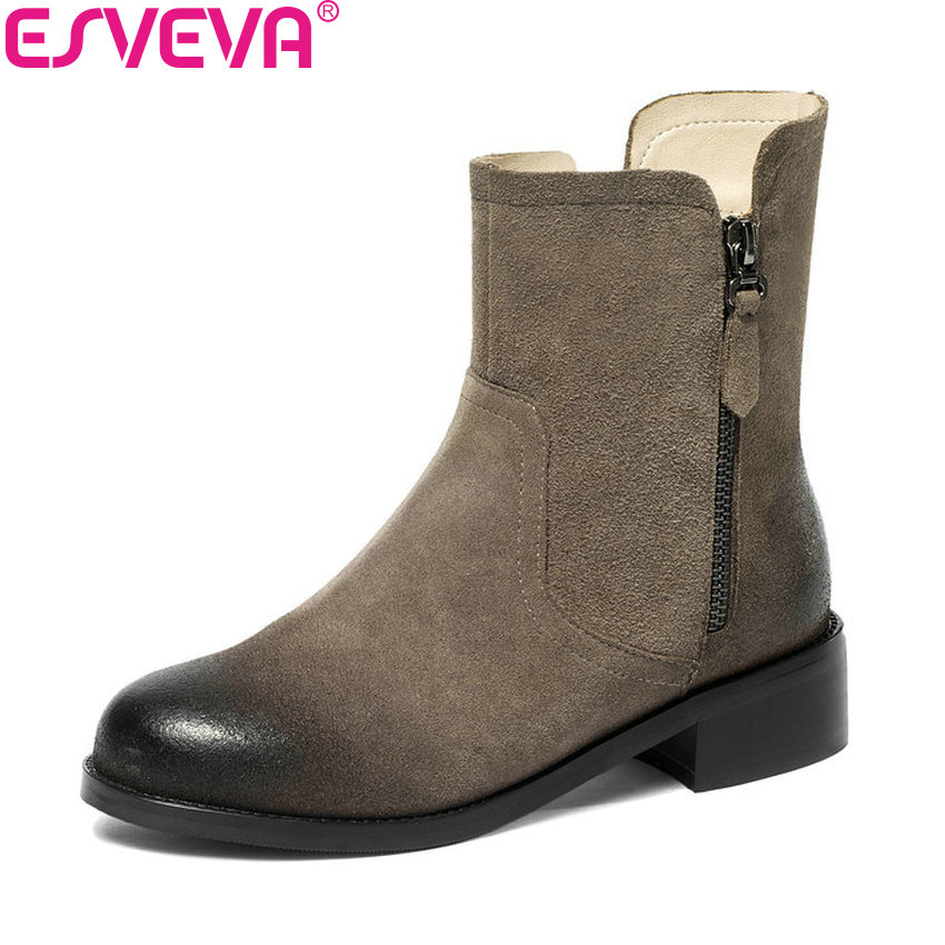 ESVEVA 2019 Women Boots Cow Suede Zipper Shoes Autumn Shoes Square Med Heels Snow Boots Round Toe Shoes Ladies Boots Size 34-43 esveva 2019 women shoes mid calf boots round toe med heels winter boots short plush slip on height increasing snow boots 34 43