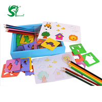 Wooden Painting Copy Tool Toys for Children Stencils For Painting Art Toys Colorful Pencils Pen Drawing Stencil Magic Kids Toys