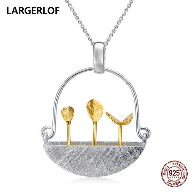 LARGERLOF Pendant Silver 925 Women Chain Necklaces Handmade Fine Jewelry Silver