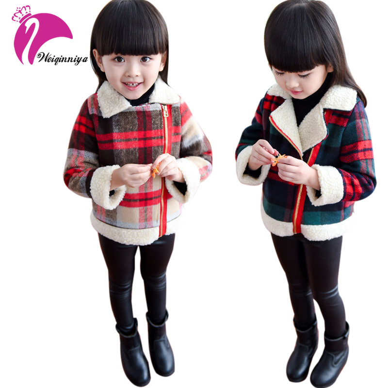 New Baby Girls Jackets Children Winter Plaid Pattern Warmed Cotton Children Outerwear Lovely Style Coat Baby