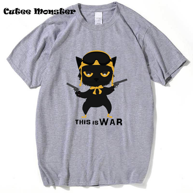 Guns N Roses T Shirt Men 2018 Fashion This is War Cotton T-shirt Cartoon Cat Printed Top Tee Camisetas Hombre 3XL