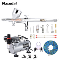 Nasedal Air Compressor with Tank 1/6 HP Airbrush Compressor Oil less Quiet High pressure Pump Nail Art Model Cake Car Body