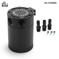 Black Racing Baffled 3 Port Oil Catch Can Tank Air Oil Separator HU JYH04BA