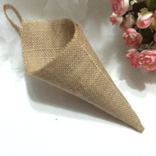 Hessian Hanging Pew Cone pack of 12 Birthday Party Baby Shower Country Wedding Burlap DIY Decorations Flower Holder Organizer