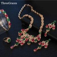 ThreeGraces Dubai Altın Renk Jewellry Kırmızı Yeşil Kristal Bildirimi Kolye Küpe Düğün JS183 4 Parça Için Takı Setleri