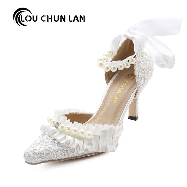 3f85725202b89 US $99.83 |LOUCHUNLAN Women Shoes Pumps Wedding Shoes Lace Pearl Bridal  Shoes med Heeled Ruffles Ankle Wristband Female 41 square toe-in Women's  Pumps ...