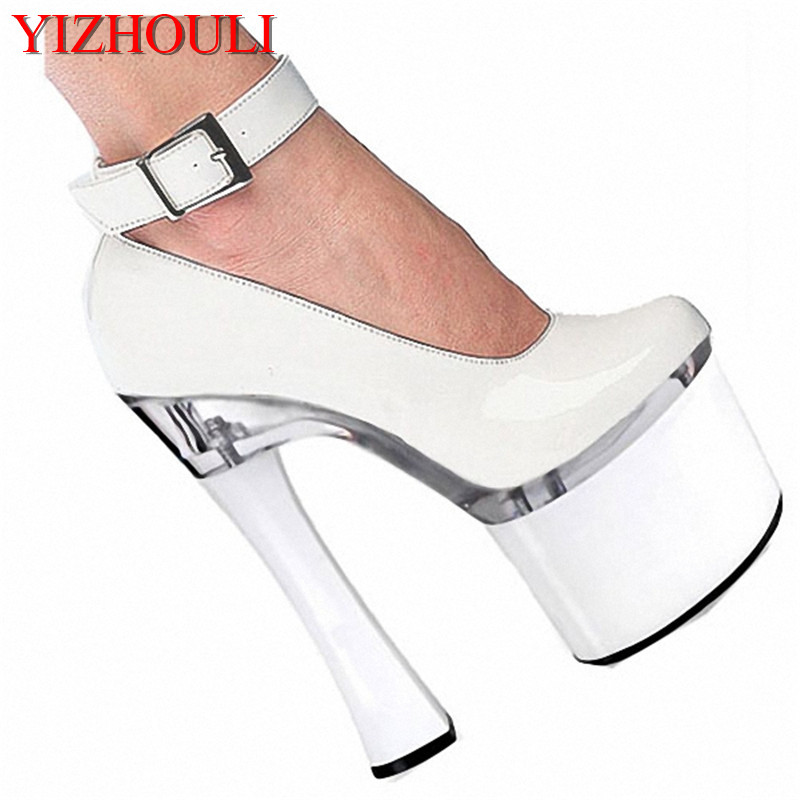 Spool Heels With Single Shoes Super-Elevation 18CM Women's High-Heeled Shoes Platform Shoes 7 Inch Ankle Strap High-Heeled Shoes