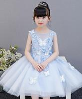 High Quality Appliques lace Flower Girl Dress Party Pageant Princess Wedding Dress Baby Girl Baptism Gown First Communion Dress