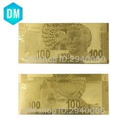 Горячая продажа Южная Африка банкноты Позолоченные 100 Rand банкноты, 10 шт./лот Золотая копия денег для сбора подарков