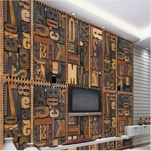 beibehang Custom large - scale murals European wood carvings alphabet 3D