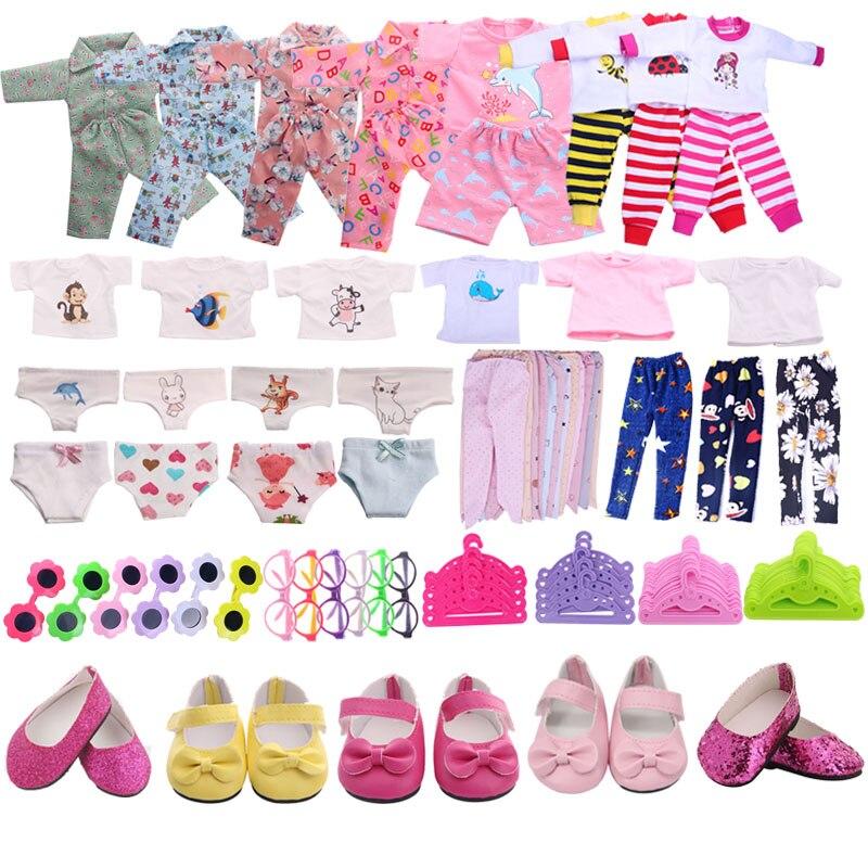 Roupa Da Boneca frete Grátis 1Set = 7 Pcs Boneca Roupas Sapatos Acessórios Fit 18 Polegada American & 43 Cm baby Doll Nossa Geração da Menina