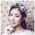 Luz azul de la flor estrella de mar diadema tiaras de Novia blanco hecho a mano joyas accesorios para el cabello de novia de seda
