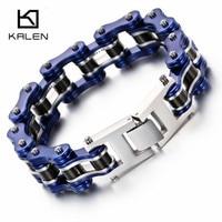 Kalen 22cm Bike Chain Bracelet For Men Blue Motorcycle Link Chain Bracelet Male Fashion Jewelry Drop Shipping Wholesale Bracelet