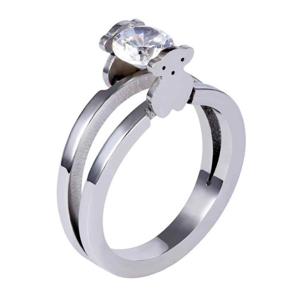 New Wedding engagement rings for women Cute Bear Cubic Zircon wedding party big fashion silver bear Ladies Rings Jewelry
