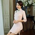 2017 Autumn Spring Chinese Qipao Dress Handcraft Chinese Dress Floral Painted Blend Silk Cheong-Sam Qipao Dress Cheongsam